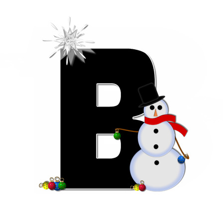 typographiy: The letter B, in the alphabet set Frosty, is black and decorated with a snowman and Christmas ornaments.  Snowman is wearing a red scarf and alphabet letter is topped with a glowing white star.