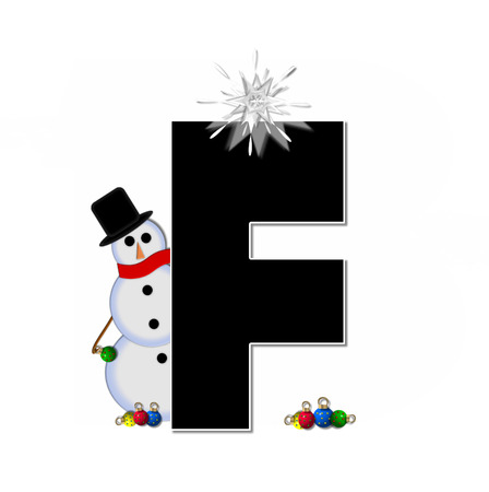 typographiy: The letter F, in the alphabet set Frosty, is black and decorated with a snowman and Christmas ornaments.  Snowman is wearing a red scarf and alphabet letter is topped with a glowing white star.