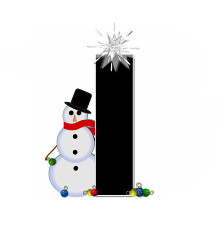 typographiy: The letter I, in the alphabet set Frosty, is black and decorated with a snowman and Christmas ornaments.  Snowman is wearing a red scarf and alphabet letter is topped with a glowing white star.