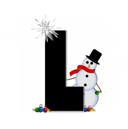 typographiy: The letter L, in the alphabet set Frosty, is black and decorated with a snowman and Christmas ornaments.  Snowman is wearing a red scarf and alphabet letter is topped with a glowing white star.