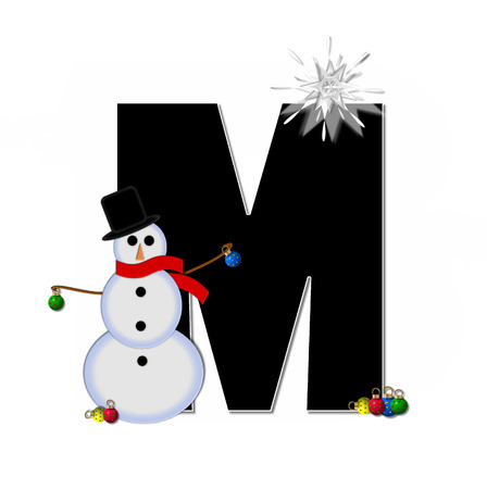 typographiy: The letter M, in the alphabet set Frosty, is black and decorated with a snowman and Christmas ornaments.  Snowman is wearing a red scarf and alphabet letter is topped with a glowing white star.