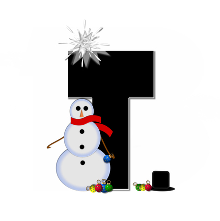 typographiy: The letter T, in the alphabet set Frosty, is black and decorated with a snowman and Christmas ornaments.  Snowman is wearing a red scarf and alphabet letter is topped with a glowing white star.