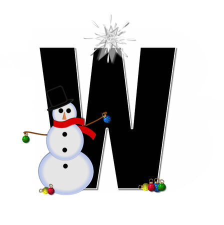 The letter , in the alphabet set Frosty, is black and decorated with a snowman and Christmas ornaments.  Snowman is wearing a red scarf and alphabet letter is topped with a glowing white star. photo