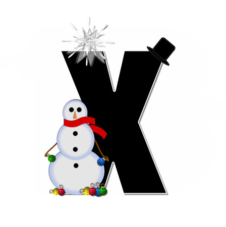 topped: The letter X, in the alphabet set Frosty, is black and decorated with a snowman and Christmas ornaments.  Snowman is wearing a red scarf and alphabet letter is topped with a glowing white star.