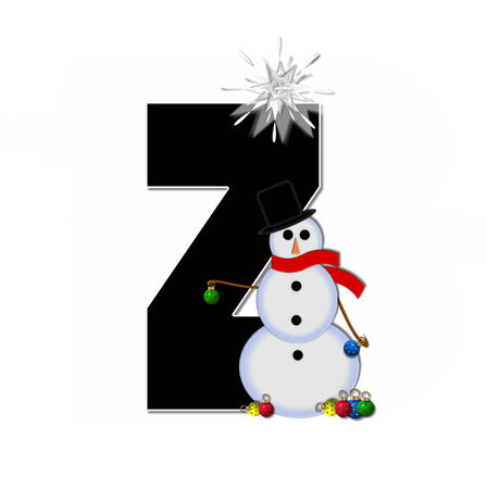 typographiy: The letter Z, in the alphabet set Frosty, is black and decorated with a snowman and Christmas ornaments.  Snowman is wearing a red scarf and alphabet letter is topped with a glowing white star.