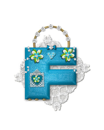 gaudy: The letter F, in the alphabet set Bling Bag, depicts aqua letter as a blinged out purse with gold handle.  Letter has lace, diamonds and flowers.