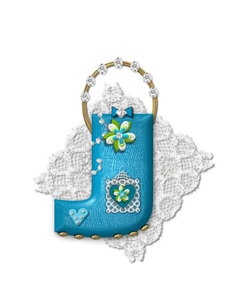 The letter J, in the alphabet set Bling Bag, depicts aqua letter as a blinged out purse with gold handle.  Letter has lace, diamonds and flowers.  Background framing letter is a lace handkerchief. Imagens