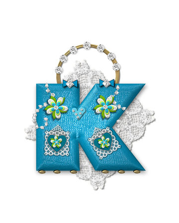 The letter K, in the alphabet set Bling Bag, depicts aqua letter as a blinged out purse with gold handle.  Letter has lace, diamonds and flowers.   Imagens