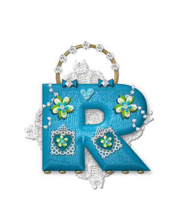 gaudy: The letter R, in the alphabet set Bling Bag, depicts aqua letter as a blinged out purse with gold handle.  Letter has lace, diamonds and flowers.