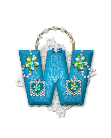 The letter W, in the alphabet set 'Bling Bag,' depicts aqua letter as a blinged out purse with gold handle.  Letter has lace, diamonds and flowers. photo