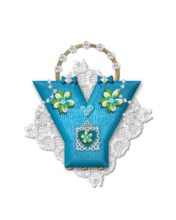 gaudy: The letter Y, in the alphabet set Bling Bag, depicts aqua letter as a blinged out purse with gold handle.  Letter has lace, diamonds and flowers.
