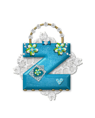 The letter Z, in the alphabet set Bling Bag, depicts aqua letter as a blinged out purse with gold handle.  Letter has lace, diamonds and flowers.  Background framing letter is a lace handkerchief.
