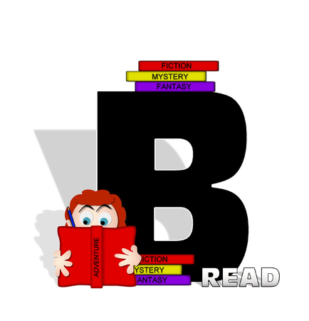 absorbed: The letter B, in the alphabet set Absorbed in Reading, is black and decorated with books and people absorbed in reading.