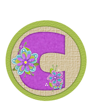 letter c: The letter C, in the alphabet set Backyard Bouquet, is lilac and decorated with layered flowers in blue and lilac.