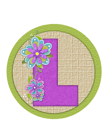 The letter L, in the alphabet set Backyard Bouquet, is lilac and decorated with layered flowers in blue and lilac.  Zdjęcie Seryjne