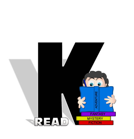 absorbed: The letter K, in the alphabet set Absorbed in Reading, is black and decorated with books and people absorbed in reading.