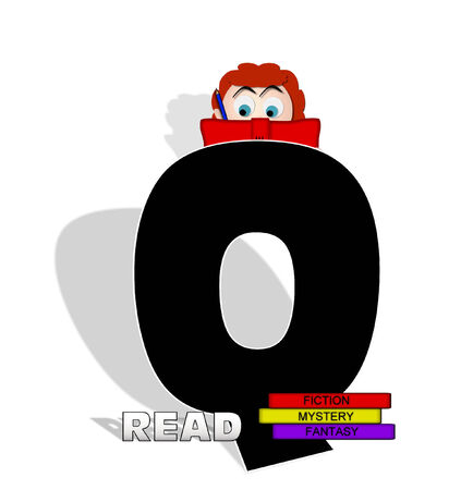 absorbed: The letter Q, in the alphabet set Absorbed in Reading, is black and decorated with books and people absorbed in reading.  Stock Photo