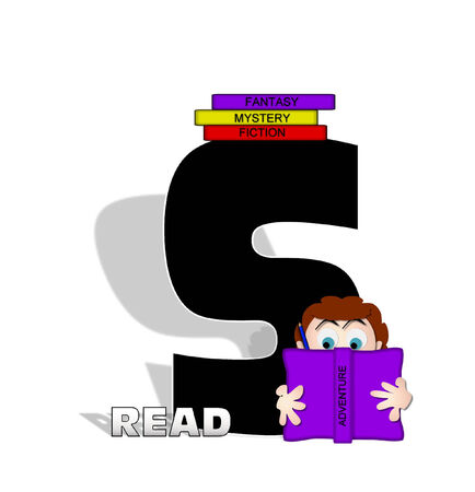 absorbed: The letter S, in the alphabet set Absorbed in Reading, is black and decorated with books and people absorbed in reading.