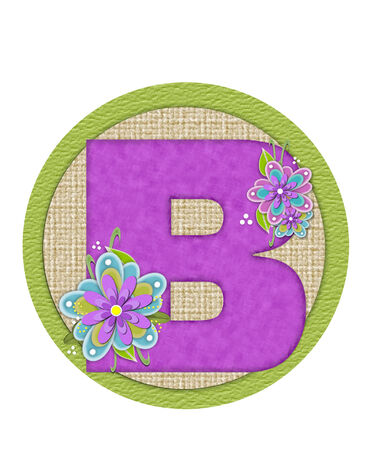 The letter B, in the alphabet set Backyard Bouquet, is lilac and decorated with layered flowers in blue and lilac.