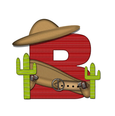 top gun: The letter B, in the alphabet set Bandido, is a red lined, tight woven pattern.  Letter is wearing a gun belt and blanket with a somberro on top.  Stock Photo