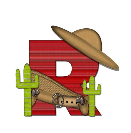 theif: The letter R, in the alphabet set Bandido, is a red lined, tight woven pattern.  Stock Photo