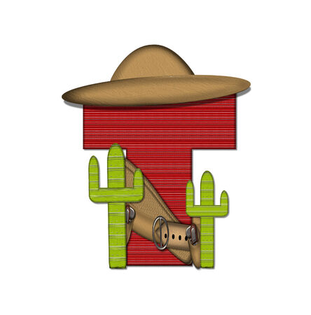 theif: The letter T, in the alphabet set Bandido, is a red lined, tight woven pattern.