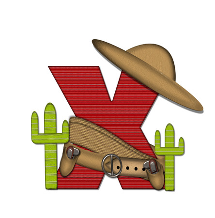 theif: The letter X, in the alphabet set Bandido, is a red lined, tight woven pattern.