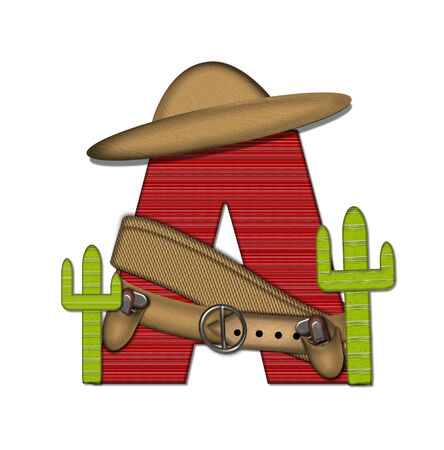 theif: The letter A, in the alphabet set Bandido, is a red lined, tight woven pattern.  Letter is wearing a gun belt and blanket with a somberro on top.  Two cacti sit at each side.