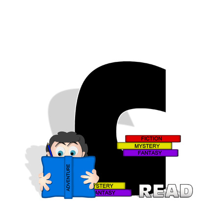 child holding sign: The letter C, in the alphabet set Absorbed in Reading, is black and decorated with books and people absorbed in reading.