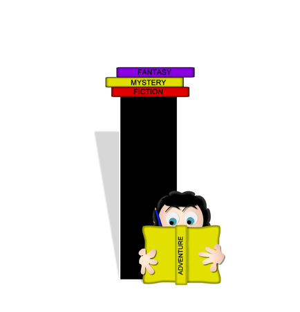 child holding sign: The letter I, in the alphabet set Absorbed in Reading, is black and decorated with books and people absorbed in reading.