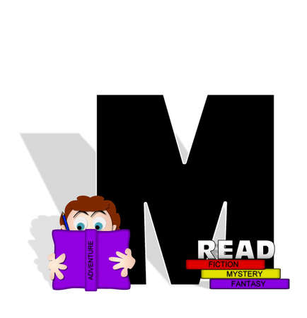 absorbed: The letter M, in the alphabet set Absorbed in Reading, is black and decorated with books and people absorbed in reading.