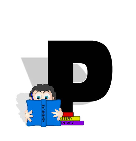 The letter P, in the alphabet set Absorbed in Reading, is black and decorated with books and people absorbed in reading.  photo