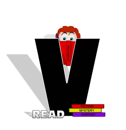open type font: The letter V, in the alphabet set Absorbed in Reading, is black and decorated with books and people absorbed in reading.