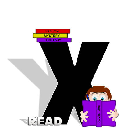 absorbed: The letter X, in the alphabet set Absorbed in Reading, is black and decorated with books and people absorbed in reading.