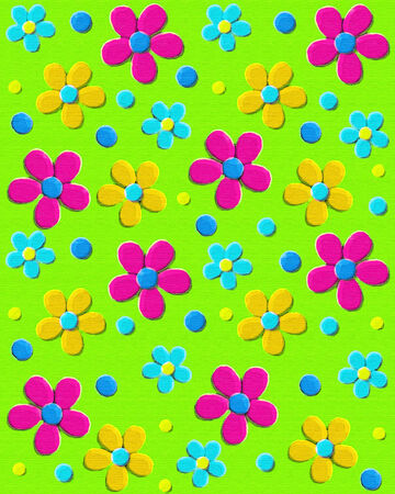 Background image is neon green upholstery-like fabric   70s style daisies in aqua, pink and yellow decorate surface