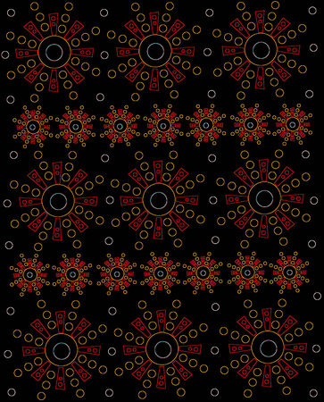 Rows of geometricly shaped Aztec-style symbols form rows of glowing orange and yellow on black surface