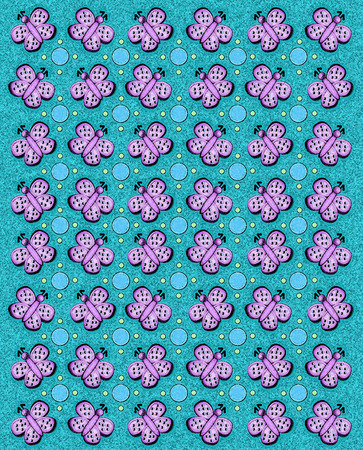 sponged: Rows of butterflies and circles fill image   Sponged background adds texture to aqua coloring  Stock Photo