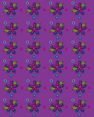 Rows of flowers fill purple, background   Blue and pink polka dots surround flowers   Zdjęcie Seryjne