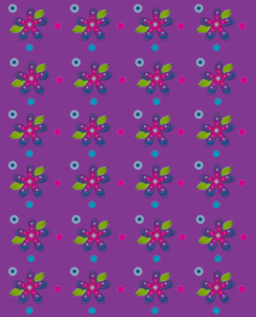 Rows of flowers fill purple, background   Blue and pink polka dots surround flowers  Edges of graphic are soft and muted Zdjęcie Seryjne - 26185031