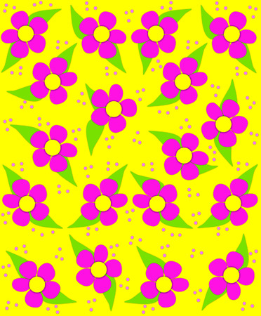70s style flowers fill yellow, background image with splashes of pinkwhile small Small pink polka dots fall like confetti.