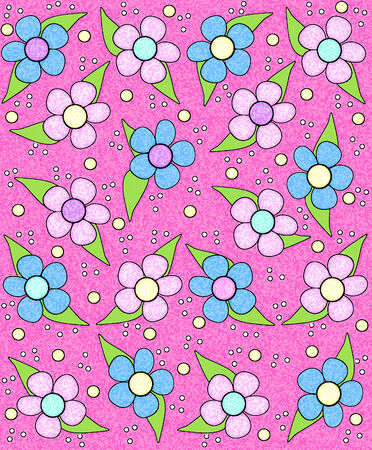 sponged: 70s style flowers fill pink background. Flowers are highlighted with soft white glow.  Entire image has sponged texture.
