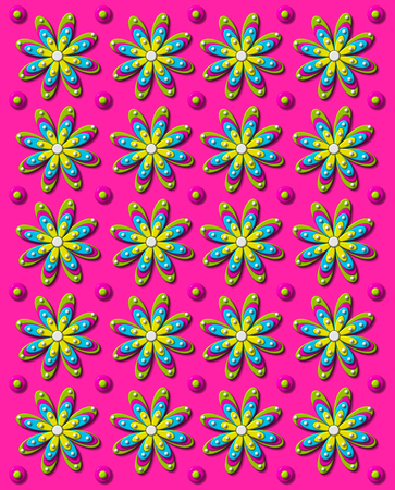 shadowed: Background image is vivid, hot pink with rows of daisies and dots in 3D.  Each flower has four different colored layers. Stock Photo