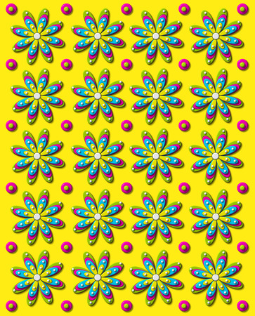 Background image is bright yellow with rows of daisies and dots in 3D.  Each flower has four different colored layers.