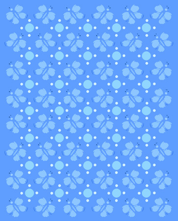 compliments: Rows of butterflies and circles fill image.  Basic imprint of butterfly compliments monochromatic image in blues. Stock Photo