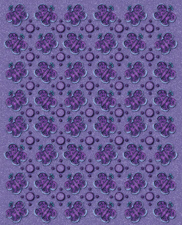 sponged: Rows of butterflies and circles fill image.  Sponged background adds texture to lilac coloring.