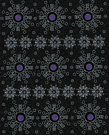 Rows of geometricly shaped Aztec-style symbols form rows of etched black on grain like black surface.  Center of each symbol has purple colored dot.