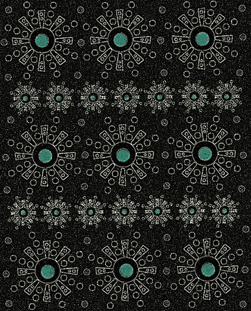 Rows of geometricly shaped Aztec-style symbols form rows of etched black on grain like black surface.  Center of each symbol has teal colored dot.