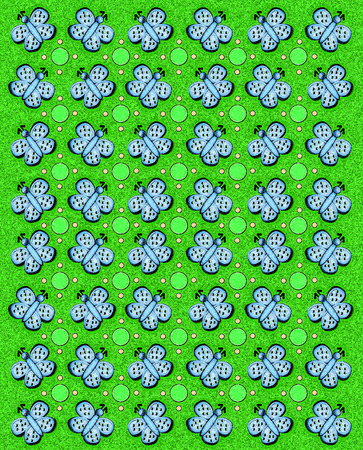 sponged: Rows of butterflies and circles fill image.  Sponged background adds texture to green coloring. Stock Photo