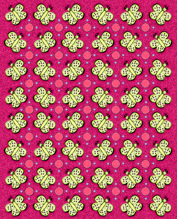 sponged: Rows of butterflies and circles fill image.  Sponged background adds texture and style to pink background.