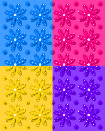 Background image shows daisy pattern in four colors; blue, pink, yellow and purple.  Image shows rows of daisies and dots.